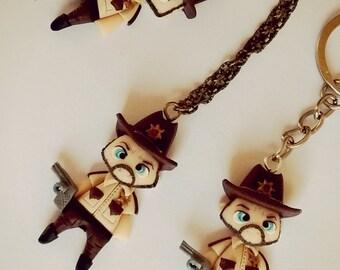 The Walking Dead TWD handmade necklace or keychain Rick Grimes FAN ART clay