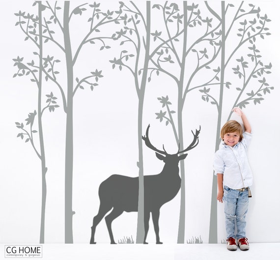 Nursery Wall Decals Woodland Stag Forest Deer Wallsticker Tree for Kids Toddlers Baby Room Decals Customized Decoration Removable