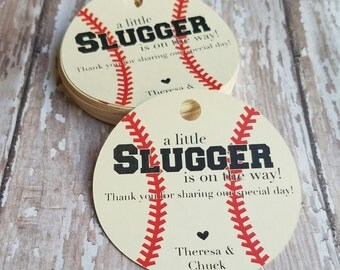 A little slugger is on the way baby shower tag, Baseball Baby Shower, Spring, Pregnancy Announcement Tag, Gender Reveal, Basebal (113)
