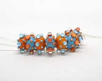 Set of 8 Donut Beads - 12 mm - Blue Turquoise Orange - Mix Rondelles Beads - Handmade Lampwork Glass Beads - Raised Dots