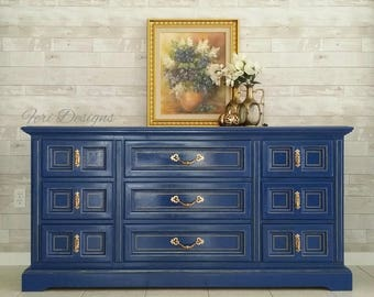 Vintage, Blue Credenza -Media Console  1960 Hand Painted.