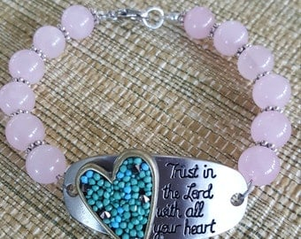 Rose Quartz Trust in the Lord Bracelet/Gift for Mom/Gift for Friend/Gift for Me/Birthday Gift
