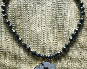 Hematite Faceted Beads and Gold Edge Geode