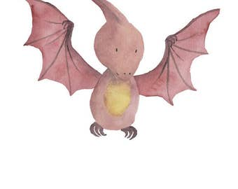 Dinosaur Watercolor Pterodactyl- Nursery Room or Playroom art print