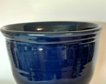 "Pottery serving bowl 8""x5"" blue bowl"