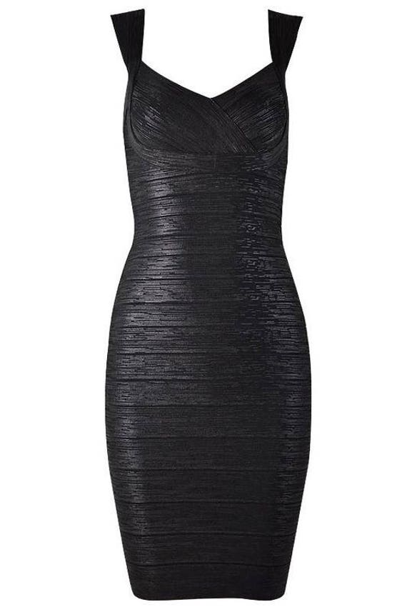 Black Metallic High-Quality Bandage Dress