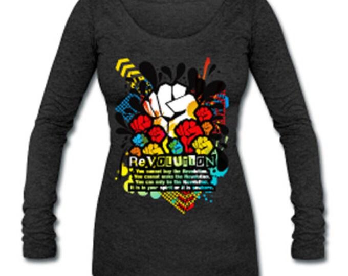 Revolution Black Power Fist Womens Tri-Blend Long Sleeve T-Shirt - Dark Gray