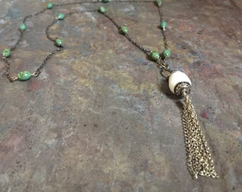 Sterling silver tassel necklace with turquoise gemstones and  a freshwater pearl pendant
