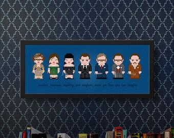 Clue Modern Cross Stitch Pattern PDF | Movies Cross Stitch Chart | Movie Quotes Cross Stitch Design | Murder, Madness, Mystery, Mayhem | DIY