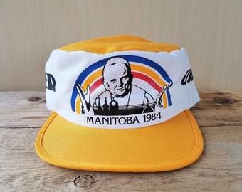POPE John Paul II 1984  Papal Early Visit to Manitoba Canada Hat Rare Vintage 80s Pillbox Painter Cap Usher Catholic Mass Souvenir