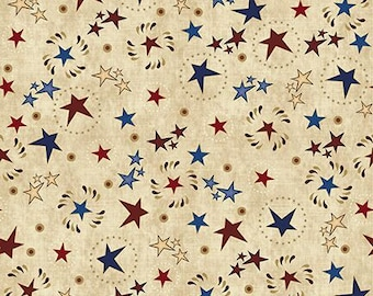Star and Circle Toss Fabric; You Choose Size; 26000E; Quilting Treasures; Stars & Stripes Forever; Patriotic
