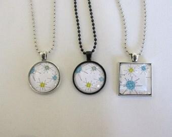 Handmade Mid Century Modern Franciscan Starburst Cabochon Necklace