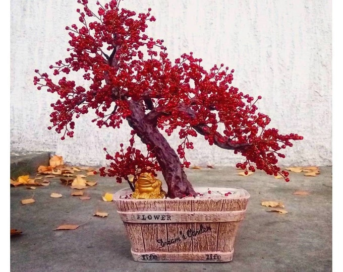 Beaded artificial autumn red bonsai tree - miniature tree - wire wrapped bonsai - bonsai tree - copper wire tree of life - ready to ship
