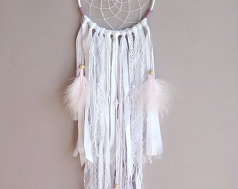 Soft Mauve Dreamcatcher - Bohemian Wall Decor - Shabby Dreamcatcher - Boho Nursery