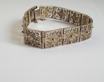 Old silver Filigree panel bracelet - Art Nouveau in style  - 925 silver - great piece of jewelry