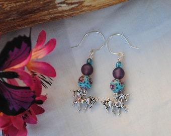 Unicorn earrings; fantasy earrings; mythical earrings; unicorn charms; purple bead earrings; blue bead earrings; teenage girl gift