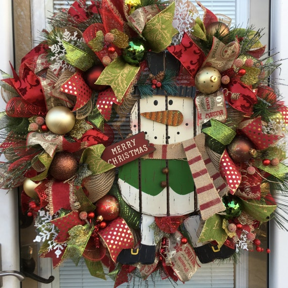 sale christmas wreath snowman wreath snowman wreaths. Black Bedroom Furniture Sets. Home Design Ideas