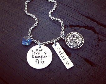 Our Love Is Semper Fi Necklace   Marine Mom Jewelry   Marine Wife Necklace   Marine Girlfriend Necklace   USMC Jewelry   Semper Fi Jewelry