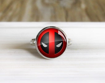Deadpool Ring- Adjustable Silver Ring - 14mm