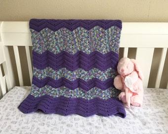 Purple & Multi Color Baby Crochet Chevron Blanket. Baby Shower Gift / Baby Crochet Blanket / Spring Baby Shower Gift / Purple Baby Blanket
