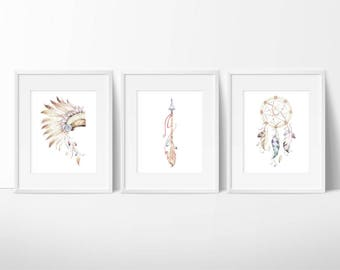 Dream Catcher Print - Arrow Art - Watercolor Art - Indian Headdress - Native American Prints - Feather Arrows - Printable Set of 3