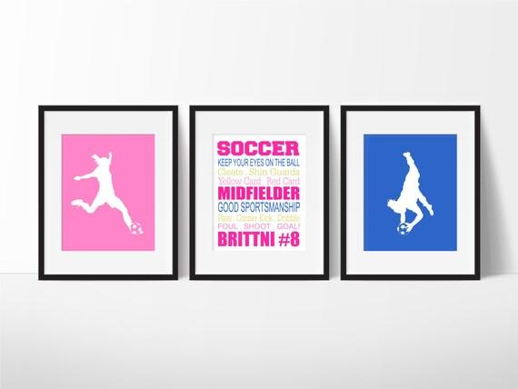 soccer wall art soccer decor girls soccer personalized. Black Bedroom Furniture Sets. Home Design Ideas