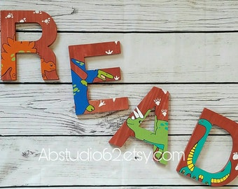 Wooden Letters for Nursery, Dinosaur Nursery Decor, Hand Painted Wood Letters, Dinosaur Nursery Letters, Dinosaur Decor, Dinosaur Wall Art