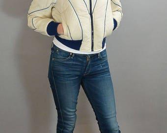 70s Ski Coat// Ski Puffy Jacket// Butterfly Collar Vintage Ski Jacket (F1)