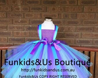 Purple Aqua Turquoise Tutu Dress- birthday under the sea tutu dress- smash cake, birthday, pageant