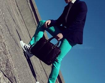 Men's summer cotton pants in aquamarine