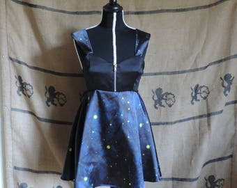 "Dress ""Lily"", satin, fantasy night print, fireflies"