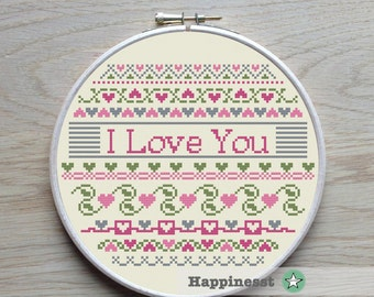 cross stitch pattern, I love you, hearts, borders, valentine, mother's day, valentine's day PDF pattern, ** instant download**