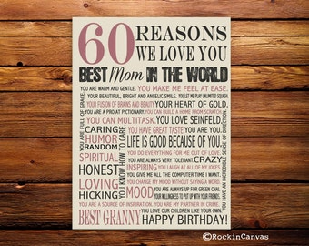 60th Birthday Present, Reasons we love you, 30th, 40th, 50th, 70th, 80th, 90th, Custom Birthday Gift, Anniversary gift, Mother Birth