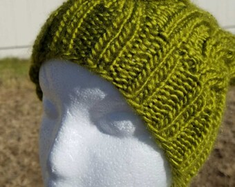 Chartreuse Cable Hat, Hand-knitted Men/Women cable hat, Cable Hat, Knitted beanie, Beanie, Ready-to-Ship,