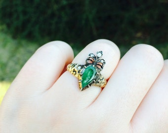 RARE Georgian engagement ring, antique crowned heart engagement ring, pear shaped emerald ring with diamonds, unique diamond engagement ring