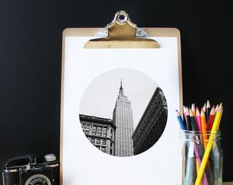 Photography Empire State Building, New york, Black white, Manhattan, Architecture, Skyscraper, Urban, modern print, NYC print, poster
