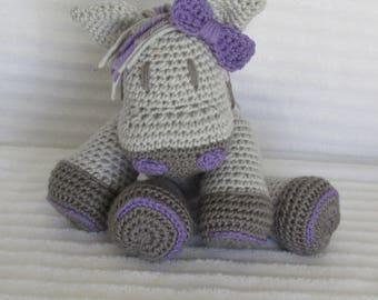 Crochet Horse, Horse Stuffed Animal, Grey and Purple, Crochet Animal, Horse Plush, Stuffed Horse, Horse Nursery, Western Nursery