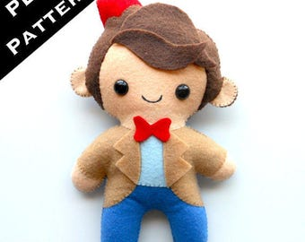 "PDF PATTERN - 9"" Human Plush Matt Smith 11th Doctor (Digital Download) by Michelle Coffee"