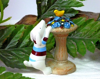 Mini Dog Figurine.  Birdbath with Bird and Flowers Figurine. Fairy Dog. White Dog Figurine.Mini Garden Pedestal.TURQUOISE Roses