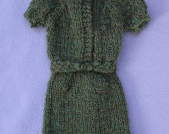 Vintage Barbie Green Knit Dress, NM, Handmade/Mommy-made