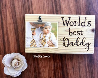 Daddy picture frame, First Fathers Day gift, Gift for Dad, Dad photo frame, Wood dad picture frame, Custom photo frame, Fathers day gift
