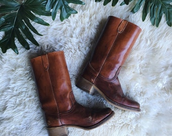 70's Acme Dingo Boots Mens size 10 1/2 D, Distressed Leather Boots, 1970's Campus Boots, Engineer Motorcycle Brown Leather Cowboy Boots