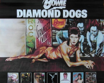 Rare Original 1974 RCA Mainman David Bowie Promotional Poster for the Album 'Diamond Dogs'.