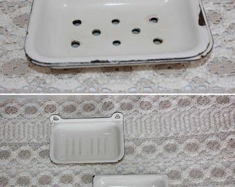Enamel Soap Dish Soap Tray White Enamelware Soap Bowl Rustic Soap Holder Wall Mounted Soap Dish Antique Soap Dish Bathroom Decor Farmhouse