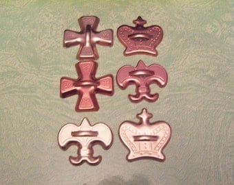Six vintage copper tone aluminum cookie cutters crown fleur de lis cross