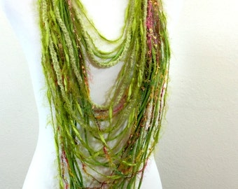 Crochet scarf, Infinity scarves, Gift for her, Handmade necklace, Boho, Crochet jewelry, Ready to ship,