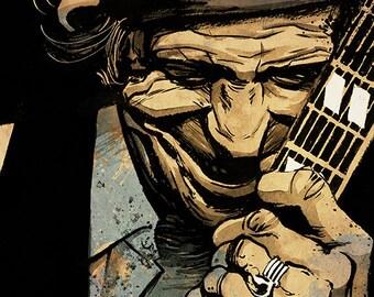 The Rolling Stones - Keith Richards  portrait - A4 colour art print