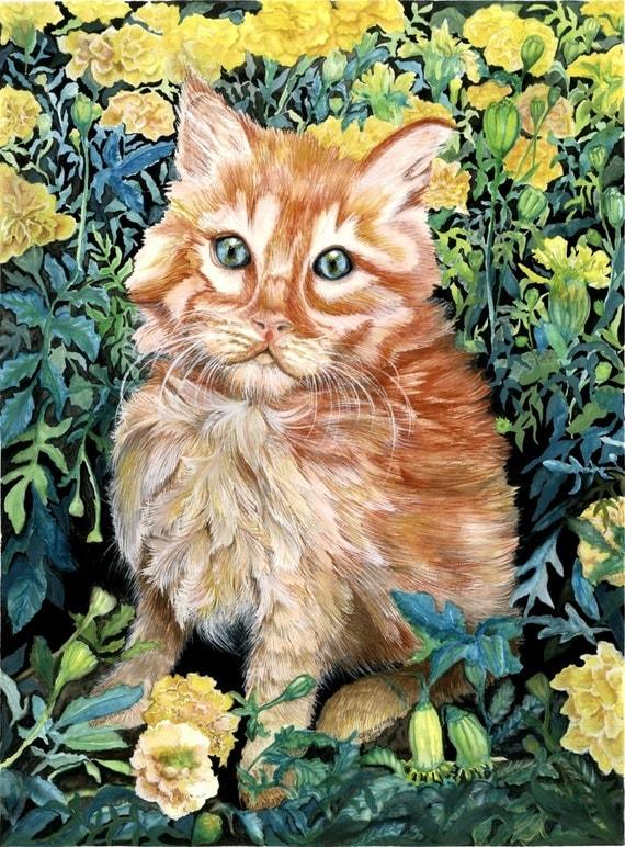 Kitten garden print country home decor watercolor cat blue eye orange tabby in the marigold garden art print green yellow original art print