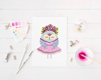 Fine Art Owl Print - Ballerina Owl