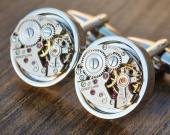 Breitling Watch Movement Cufflinks - Breitling Cufflinks Steampunk Cuff Links Luxury Mens Gift Vintage Watch Cufflinks Mens Fathers Day Gift